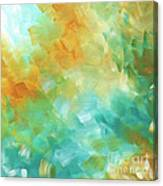Abstract Textured Decorative Art Original Painting Gold And Teal By Madart Canvas Print