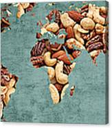 Abstract World Map - Mixed Nuts - Snack - Nut Hut Canvas Print