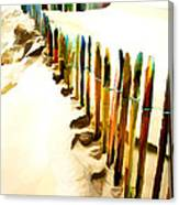 Abstracted March Of The Colored Dune Fence Canvas Print