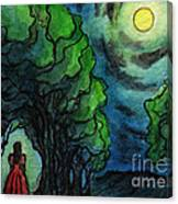 Ac224 Girl Under Full Moon Canvas Print