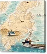 Accomplice Kodiak Crab Fishing Boat Cathy Peek Nautical Chart Map  Canvas Print