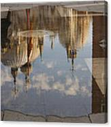 Acqua Alta Or High Water Reflects St Mark's Cathedral In Venice Canvas Print
