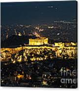 Acropolis At Night Canvas Print
