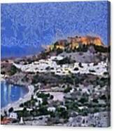 Acropolis Village And Beach Of Lindos Canvas Print