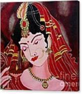 Acrylic Painting-lady With Diya Canvas Print