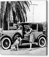 Actress And Dogs Go On Trip Canvas Print