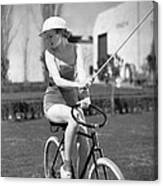 Actress Plays Bike Polo Canvas Print