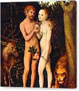 Adam And Eve - Oil On Canvas Canvas Print