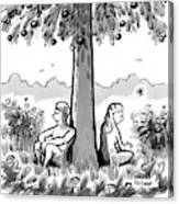 Adam And Eve Sit Back To Back Against A Tree Canvas Print