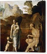 Adam And Eve With Cain And Abel Canvas Print