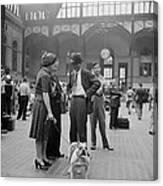 Admiring The Dog At Penn Station 1942 Canvas Print
