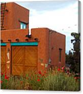 Adobe House And Poppies Canvas Print