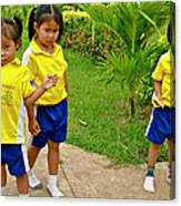Adorable Sweethearts Welcoming Committee At Baan Konn Soong School In Sukhothai-thailand Canvas Print