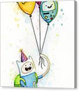 Adventure Time Finn With Birthday Balloons Jake Princess Bubblegum Bmo Canvas Print