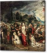 Aeneas And His Family Departing From Troy Canvas Print