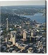 Aerial Image Of The Seattle Skyline  Canvas Print