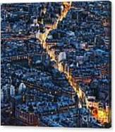 Aerial Night View Of Paris Canvas Print