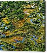 Aerial Of A Wetland, Over Northern Canvas Print