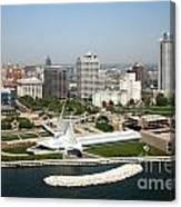 Aerial Of Milwaukee Skyline Canvas Print
