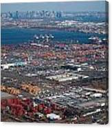 Aerial Over Newark And New Yourk Canvas Print