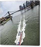 Aerial View - Red Tourist's Boat At East River Canvas Print