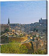 Aerial View Of A City, Toledo, Spain Canvas Print