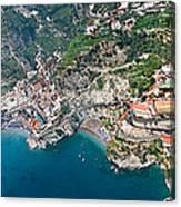 Aerial View Of A Town, Atrani, Amalfi Canvas Print