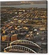 Aerial View Of Bellevue Skyline And Century Link  Canvas Print