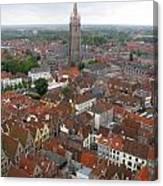 Aerial View Of Bruges Belgium Canvas Print