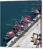 Aerial View Of Container Ship Moored At Canvas Print