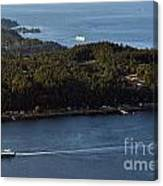 Aerial View Of Ferry Boats On Puget Sound One Leaving Bainbridge Canvas Print