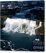 Aerial View Of Niagara Falls And River And Maid Of The Mist Canvas Print