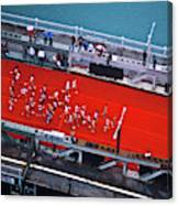 Aerial View Of People Running Canvas Print