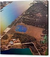 Aerial View Of Riga. Latvia. Rainbow Earth Canvas Print