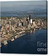 Aerial View Of Seattle Skyline With Elliott Bay And Ferry Boat Canvas Print