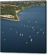 Aerial View Of Seattle Skyline With Sailboat Race On Puget Sound Canvas Print