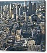 Aerial View Of Seattle Skyline With The Pro Sports Stadiums Canvas Print