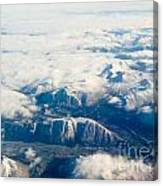 Aerial View Of Snowcapped Mountains In Bc Canada Canvas Print