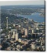Aerial View Of Space Needle And Lake Union Canvas Print