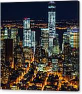 Aerial View Of The Lower Manhattan Skyscrapers By Night Canvas Print