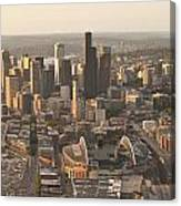 Aerial View Of The Seattle Skyline With Stadiums Canvas Print