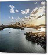 Aeriall View Of Sydney Harbour At Sunset Canvas Print