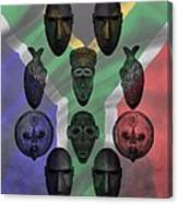 Africa Flag And Tribal Masks Canvas Print