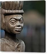 African Aging Wooden Sculpture Canvas Print