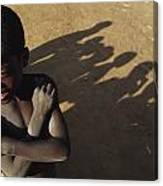 African Boy, Bare-chested, Arms Crossed Canvas Print