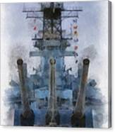 Aft Turret 3 Uss Iowa Battleship Photoart 01 Canvas Print