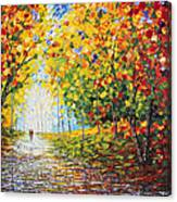 After Rain Autumn Reflections Acrylic Palette Knife Painting Canvas Print