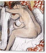 After The Bath Woman Drying Herself Canvas Print
