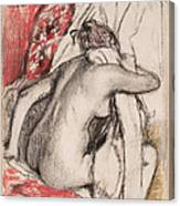 After The Bath.seated Woman Drying Herself Canvas Print