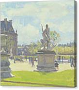 Afternoon In The Tuileries, Paris Oil On Canvas Canvas Print